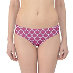 Scales1 White Marble & Pink Denim Hipster Bikini Bottoms