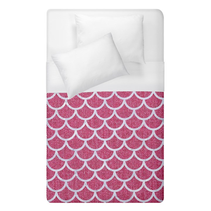 SCALES1 WHITE MARBLE & PINK DENIM Duvet Cover (Single Size)