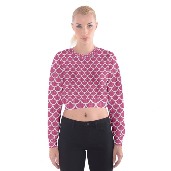 SCALES1 WHITE MARBLE & PINK DENIM Cropped Sweatshirt
