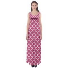Scales1 White Marble & Pink Denim Empire Waist Maxi Dress by trendistuff
