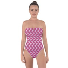 Scales1 White Marble & Pink Denim Tie Back One Piece Swimsuit
