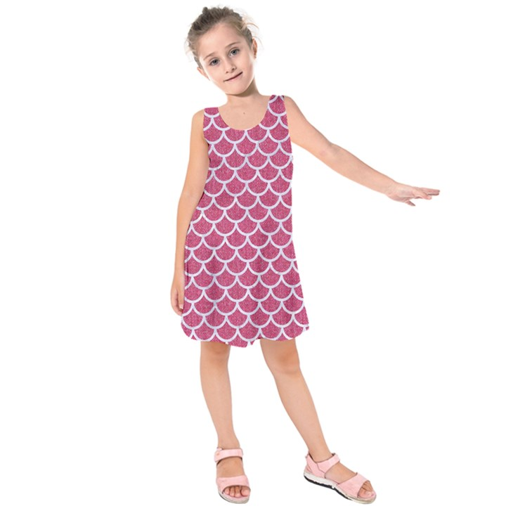 SCALES1 WHITE MARBLE & PINK DENIM Kids  Sleeveless Dress