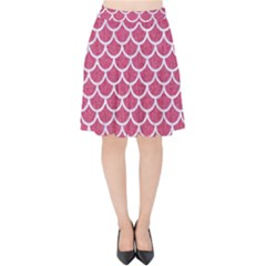 Scales1 White Marble & Pink Denim Velvet High Waist Skirt by trendistuff