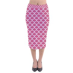 Scales1 White Marble & Pink Denim Velvet Midi Pencil Skirt by trendistuff