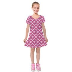 Scales1 White Marble & Pink Denim Kids  Short Sleeve Velvet Dress