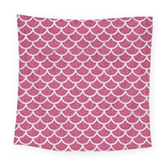Scales1 White Marble & Pink Denim Square Tapestry (large) by trendistuff