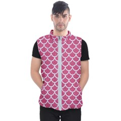 Scales1 White Marble & Pink Denim Men s Puffer Vest by trendistuff