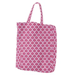 Scales1 White Marble & Pink Denim Giant Grocery Zipper Tote by trendistuff