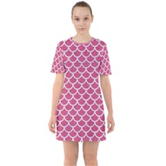 Scales1 White Marble & Pink Denim Sixties Short Sleeve Mini Dress