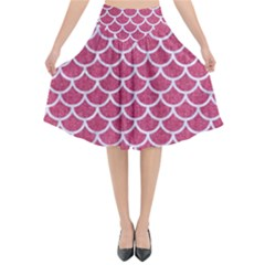 Scales1 White Marble & Pink Denim Flared Midi Skirt