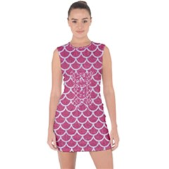 Scales1 White Marble & Pink Denim Lace Up Front Bodycon Dress