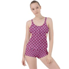 Scales1 White Marble & Pink Denim Boyleg Tankini Set  by trendistuff