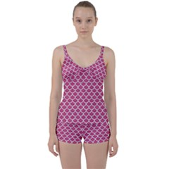 Scales1 White Marble & Pink Denim Tie Front Two Piece Tankini