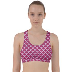 Scales1 White Marble & Pink Denim Back Weave Sports Bra