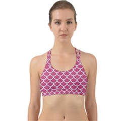 Scales1 White Marble & Pink Denim Back Web Sports Bra