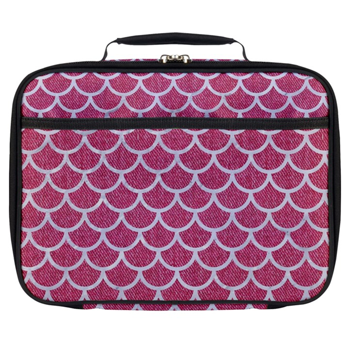 SCALES1 WHITE MARBLE & PINK DENIM Full Print Lunch Bag