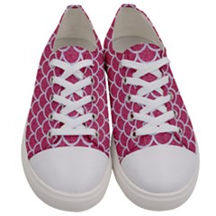 Scales1 White Marble & Pink Denim Women s Low Top Canvas Sneakers
