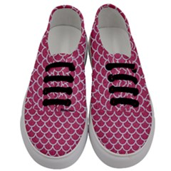 Scales1 White Marble & Pink Denim Men s Classic Low Top Sneakers