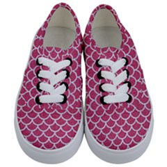 Scales1 White Marble & Pink Denim Kids  Classic Low Top Sneakers