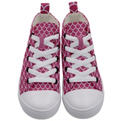 Scales1 White Marble & Pink Denim Kid s Mid Top Canvas Sneakers