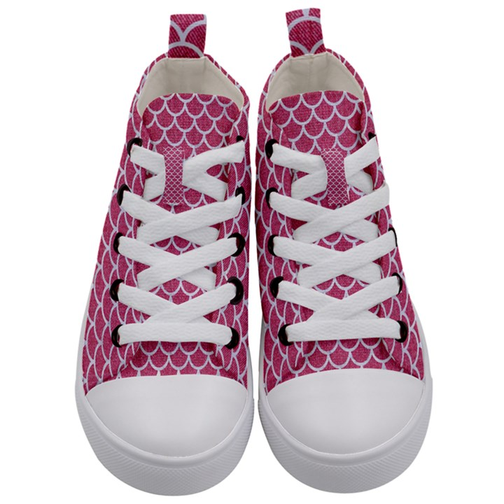 SCALES1 WHITE MARBLE & PINK DENIM Kid s Mid-Top Canvas Sneakers