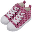 SCALES1 WHITE MARBLE & PINK DENIM Kid s Mid-Top Canvas Sneakers View2