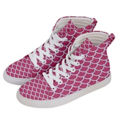 Scales1 White Marble & Pink Denim Women s Hi Top Skate Sneakers by trendistuff
