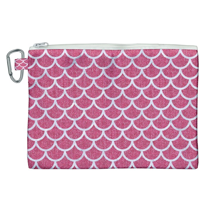 SCALES1 WHITE MARBLE & PINK DENIM Canvas Cosmetic Bag (XL)