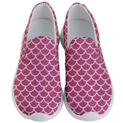 Scales1 White Marble & Pink Denim Men s Lightweight Slip Ons