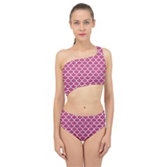 Scales1 White Marble & Pink Denim Spliced Up Two Piece Swimsuit by trendistuff