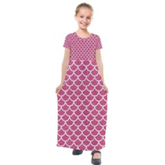 Scales1 White Marble & Pink Denim Kids  Short Sleeve Maxi Dress by trendistuff