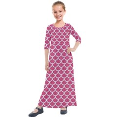 Scales1 White Marble & Pink Denim Kids  Quarter Sleeve Maxi Dress by trendistuff