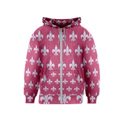 Royal1 White Marble & Pink Denim (r) Kids  Zipper Hoodie
