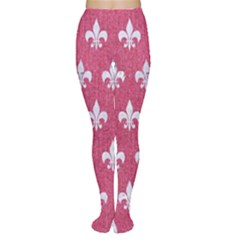 Royal1 White Marble & Pink Denim (r) Women s Tights