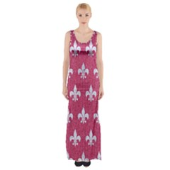 Royal1 White Marble & Pink Denim (r) Maxi Thigh Split Dress
