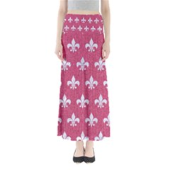 Royal1 White Marble & Pink Denim (r) Full Length Maxi Skirt