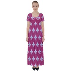 Royal1 White Marble & Pink Denim (r) High Waist Short Sleeve Maxi Dress
