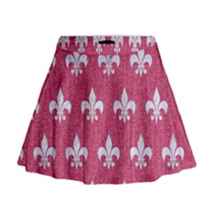 Royal1 White Marble & Pink Denim (r) Mini Flare Skirt