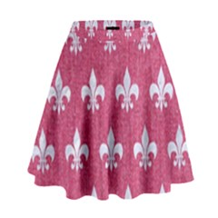 Royal1 White Marble & Pink Denim (r) High Waist Skirt