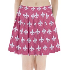 Royal1 White Marble & Pink Denim (r) Pleated Mini Skirt