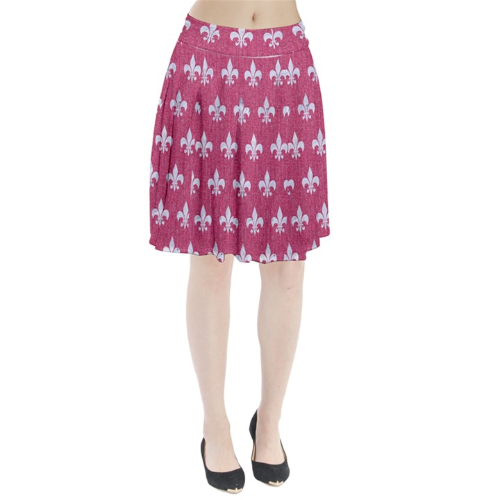 ROYAL1 WHITE MARBLE & PINK DENIM (R) Pleated Skirt