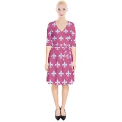 Royal1 White Marble & Pink Denim (r) Wrap Up Cocktail Dress