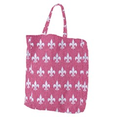 Royal1 White Marble & Pink Denim (r) Giant Grocery Zipper Tote