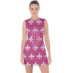 Royal1 White Marble & Pink Denim (r) Lace Up Front Bodycon Dress