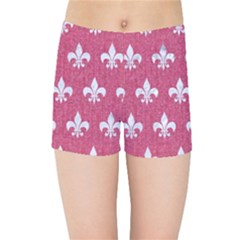 Royal1 White Marble & Pink Denim (r) Kids Sports Shorts