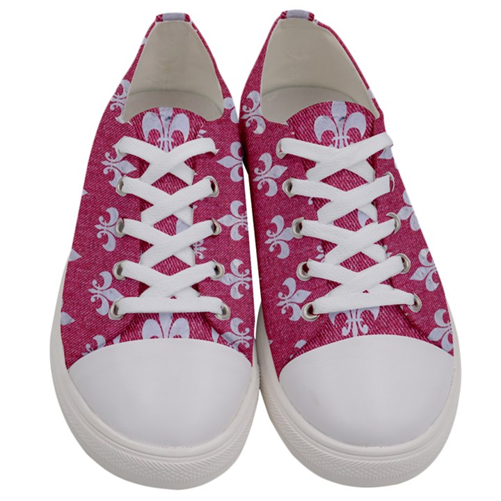 ROYAL1 WHITE MARBLE & PINK DENIM (R) Women s Low Top Canvas Sneakers