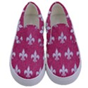 ROYAL1 WHITE MARBLE & PINK DENIM (R) Kids  Canvas Slip Ons View1