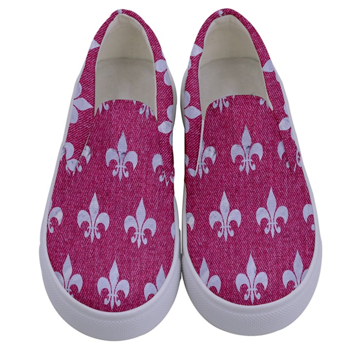ROYAL1 WHITE MARBLE & PINK DENIM (R) Kids  Canvas Slip Ons