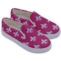 ROYAL1 WHITE MARBLE & PINK DENIM (R) Kids  Canvas Slip Ons View3