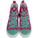 ROYAL1 WHITE MARBLE & PINK DENIM (R) Women s Mid-Top Canvas Sneakers View1